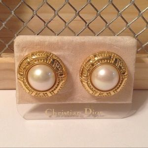 Christian Dior Gold Tone Button Clip On Earrings